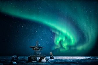 Aurora Over Inuksuk in Snow
