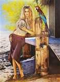 The Blond Girl with a Parrot