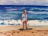 Beach Girl Gathering Shells