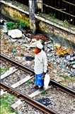 Man Waiting On Railroad Tracks - Yangon, Burma