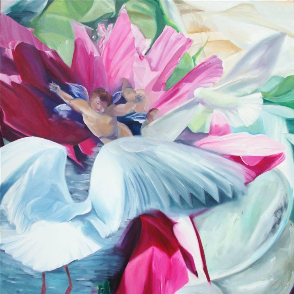 Winne, Angeleye, Oil on Canvas and Wood, 51''x 51''