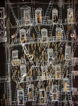 "New York Acrylic & Collage on Board 31.5"" x 23.5"""