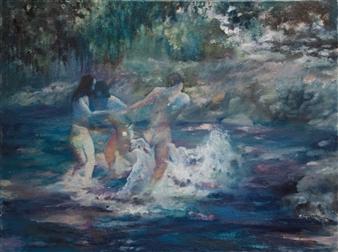 "Utopia Egg Tempera, Oil Paint, & Oil Pastel on Canvas 47.5"" x 63"""