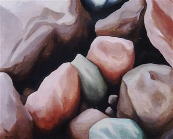 """Sassi   (Stones) Acrylic on Wood 27.5"""" x 34"""""""