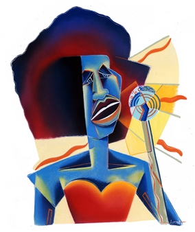 "Blues Vocalist Chalk on Paper 26"" x 22"""