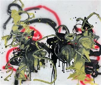 """Sat 1 Acrylic & Oil on Canvas 27.5"""" x 47"""""""