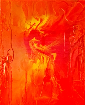 "Orange Chaos Resin on Canvas 39.5"" x 31.5"""