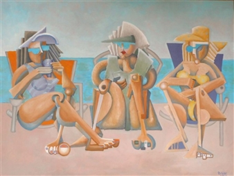 """Vicki, Linda and Mary at the Beach Oil on Canvas 36"""" x 40"""""""