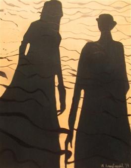"""Double Beach Shadow Oil on Canvas 48"""" x 38"""""""