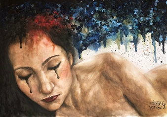 """The Naked Imagination of My Thoughts Watercolor on Paper 18"""" x 26"""""""