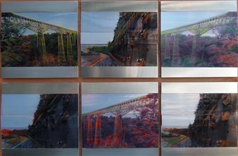 "Bridge Going South Mixed Media on Aluminum 35"" x 49"""