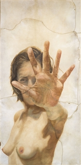 """Reaching Out Oil on Animal Skin 66"""" x 33"""""""