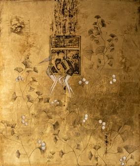 """Das Fenster Acrylic & Gold Leaf on Canvas 47.5"""" x 39.5"""""""