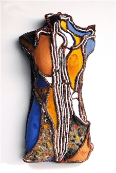 """Outsider-A Acrylic on Sewing Jute 28"""" x 16"""" x 6"""""""