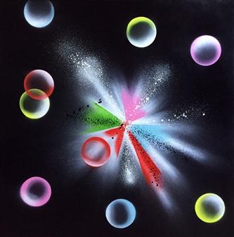 """Explosion et Bulles de Couleurs Spray Paint on Canvas 31.5"""" x 31.5"""""""