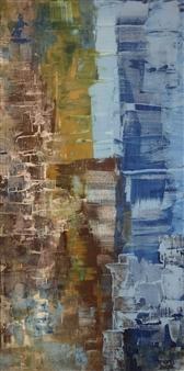 """A Busy Street Acrylic on Canvas 39.5"""" x 20"""""""