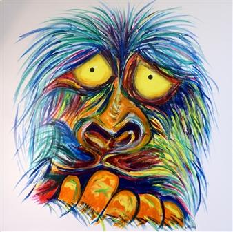 """Angst Ape Acrylic on Canvas 31"""" x 31"""""""