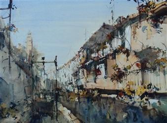 "Esclusa Watercolor 20"" x 27.5"""