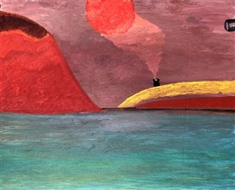 """Red Mountain Oil on Canvas 19.5"""" x 23.5"""""""