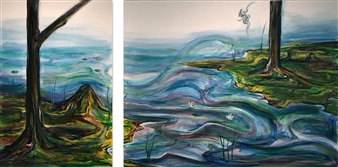 """Free-Free Oil on Canvas, diptych 36"""" x 70"""""""