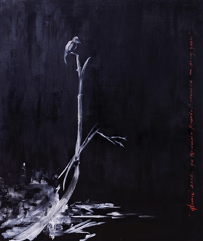 Shrike on a Dead Tree, Inspired by Miamoto Musashi