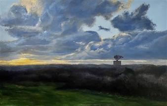 """Montauk Radar at Sunset Oil on Canvas 36"""" x 48"""""""