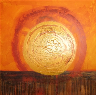 """Home/Sun/Solitude Acrylic & Ink on Canvas 48"""" x 48"""""""