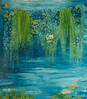"""Flowers  of Giverny Mixed Media on Canvas 63"""" x 55"""""""