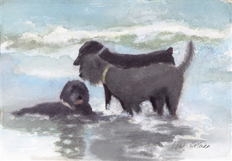 """Dog Thief on the Beach Watercolor on Paper 5.5"""" x 7.5"""""""