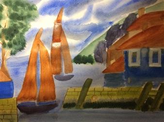 "Seaside Harbor Watercolor on Paper 18"" x 24"""