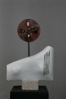 "Dea Madre  (Moderna) Carrara Marble, Obsidian and Copper 16.5"" x 14"""
