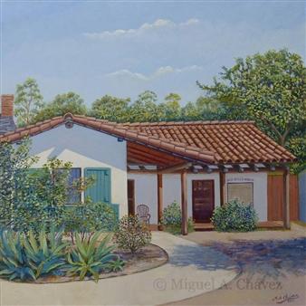 """San Diego House Oil on Canvas 18"""" x 18"""""""