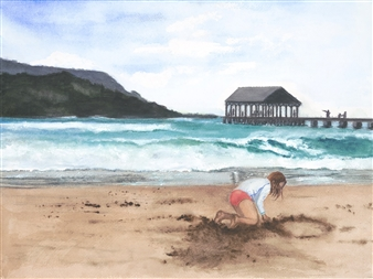 Sandwriting in Hanalei