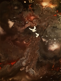 "White Birds in the Sky Acrylic & Oil on Canvas 31.5"" x 23.5"""