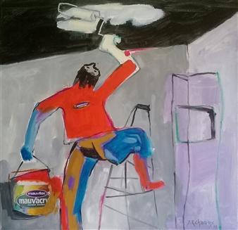 """Le Peintre Acrylic & Oil on Canvas 23.5"""" x 23.5"""""""