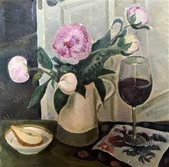 """Still Life with Peonies Oil on Canvas 20"""" x 20"""""""
