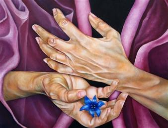 """Blaue Blume Oil & Paper on Wood 11"""" x 14"""""""