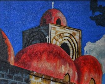 "Las Cùpulas de San Giminnianno Palermo Acrylic on Canvas 9.5"" x 11.5"""