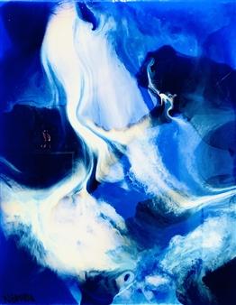 """Deep Blue Resin on Canvas 39.5"""" x 31.5"""""""
