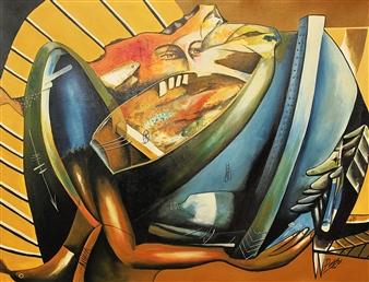 """El Resto es Hacerme Llegar-II Oil on Canvas 24.5"""" x 32"""""""