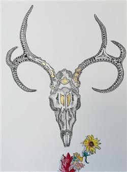 """Deer Skull Ink & Gold Leaf on Paper 19"""" x 15"""""""