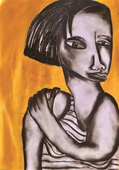 Girl with Gold Background