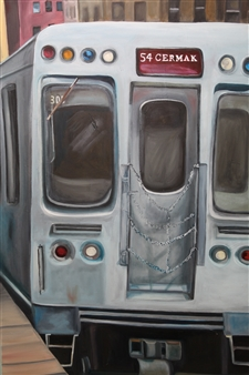 """Red Line Oil on Canvas 48"""" x 24"""""""