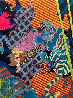 "Tiger Hunt Oil on Canvas 79"" x 59"""
