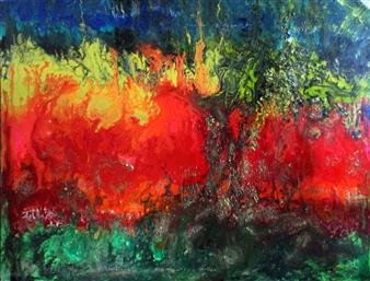 """Hypernova Oil, Acrylic, Gesso, Resin, on Canvas 48"""" x 60"""""""