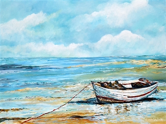 """Boat On The Shore Acrylic on Canvas 30"""" x 40"""""""