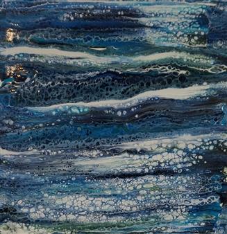"Montauk At Night Acrylic on Canvas 12"" x 12"""