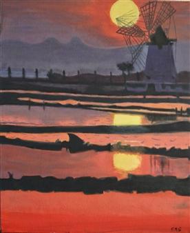 "Molinos de Trapani II Acrylic on Canvas 23.5"" x 15.5"""