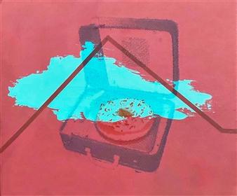 "La Rocola Acrylics on Wood Panels with Double Exposure / Transparent Film 10"" x 14"" x 2"""