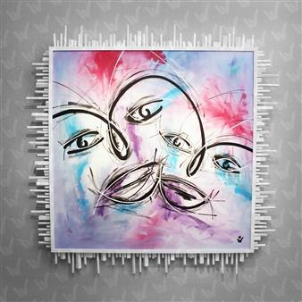 """Faces Acrylic on Canvas 48"""" x 48"""""""